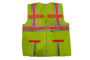 Aktion AK-627_5 Green Fabric Cloth Safety Jacket - Pack of 5