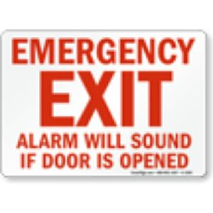 Generic Emergency Exit Alarm Will Sound If Door Opened Safety Sign board