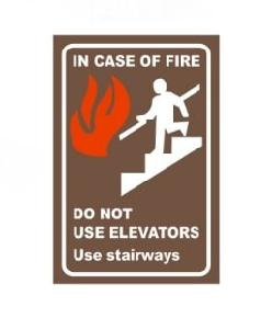 Generic In Case Of Fire/ Do Not Elevators / Use Staircase Safety Sign board